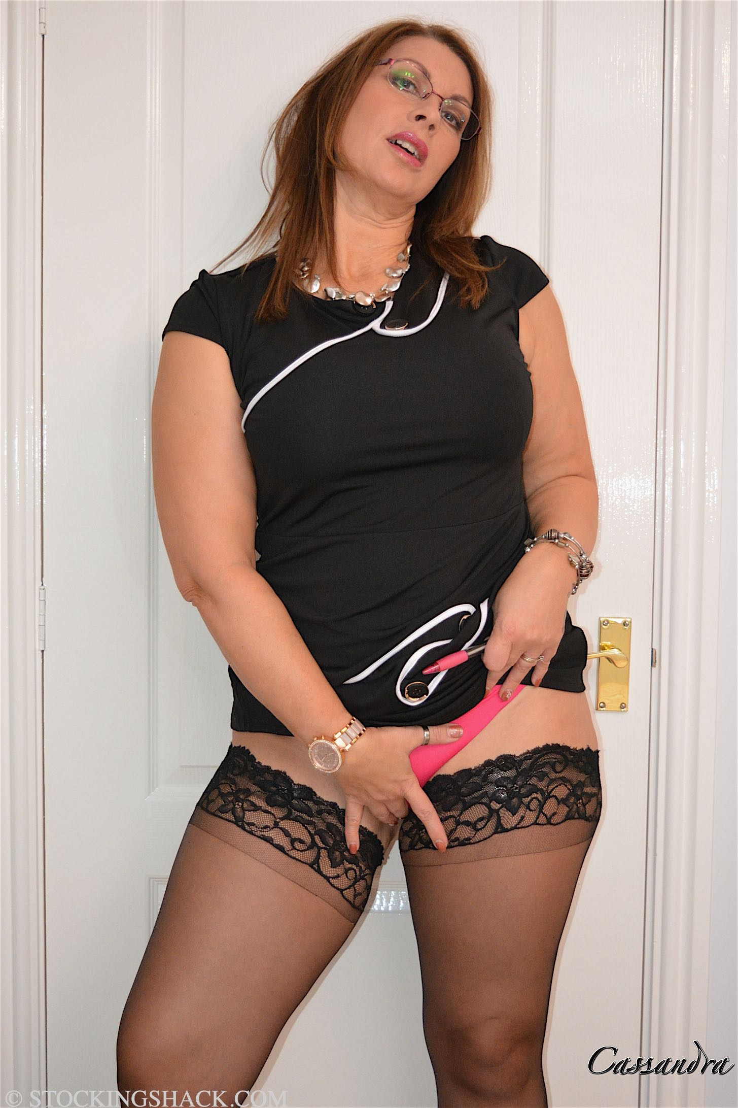 image Busty mature in pantyhose talks dirty